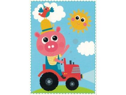 Pohlednice Prasátko traktorista