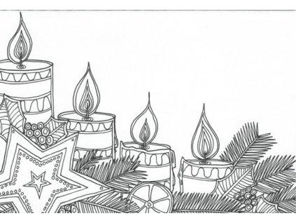 Pohlednice k vymalování - vánoční svíčky