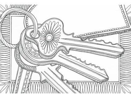 Pohlednice k vymalování - klíče