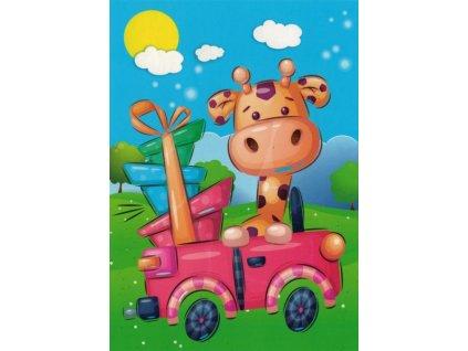 Pohlednice Žirafa s dárky