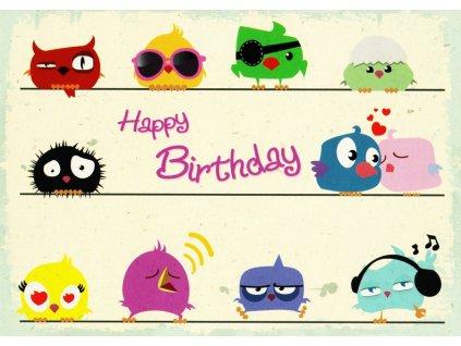 Pohlednice Happy Birthday ptáčci