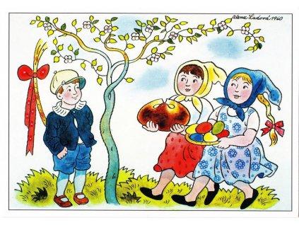 Pohlednice Velikonoce 1 (A. Ladová 1960)