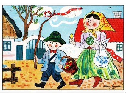 Pohlednice Velikonoční 5 (A. Ladová 1950)