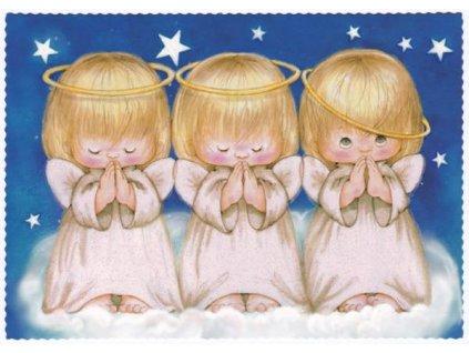 Pohlednice Vánoce - andílci