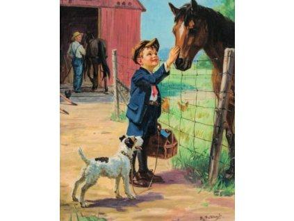 Pohlednice S dědou u koní