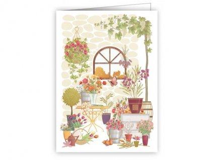 Minipřání s obálkou - Květinky