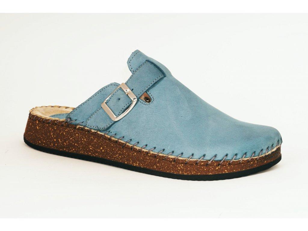 Santé CB23010 Fango dámské kožené nazouváky modrá