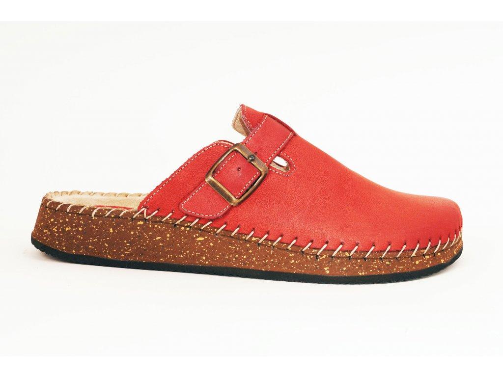 Santé CB23010 dámské kožené nazouváky červená