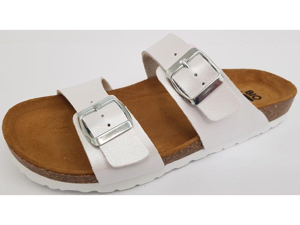 Bio Life Pisa dámské korkové pantofle bílá perleťová