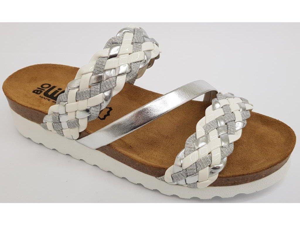 Bio Life Greta dámské pantofle na klínku stříbrná