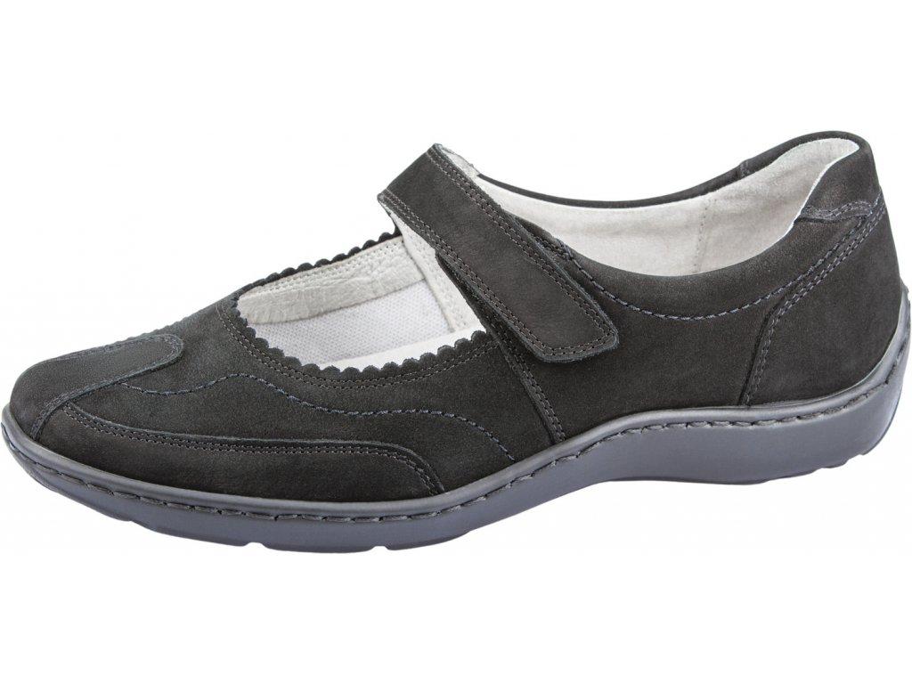 Waldlaufer HENNI 496302 dámská kožená obuv šíře H černá
