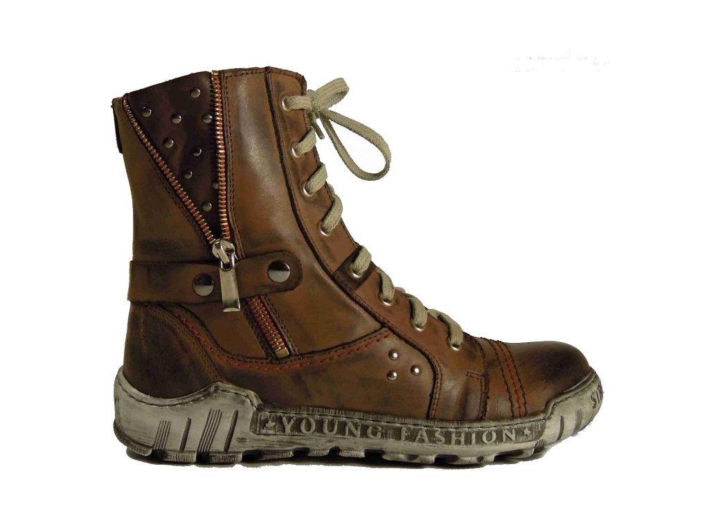 Krisbut 3028-2 brown zimní kožená obuv