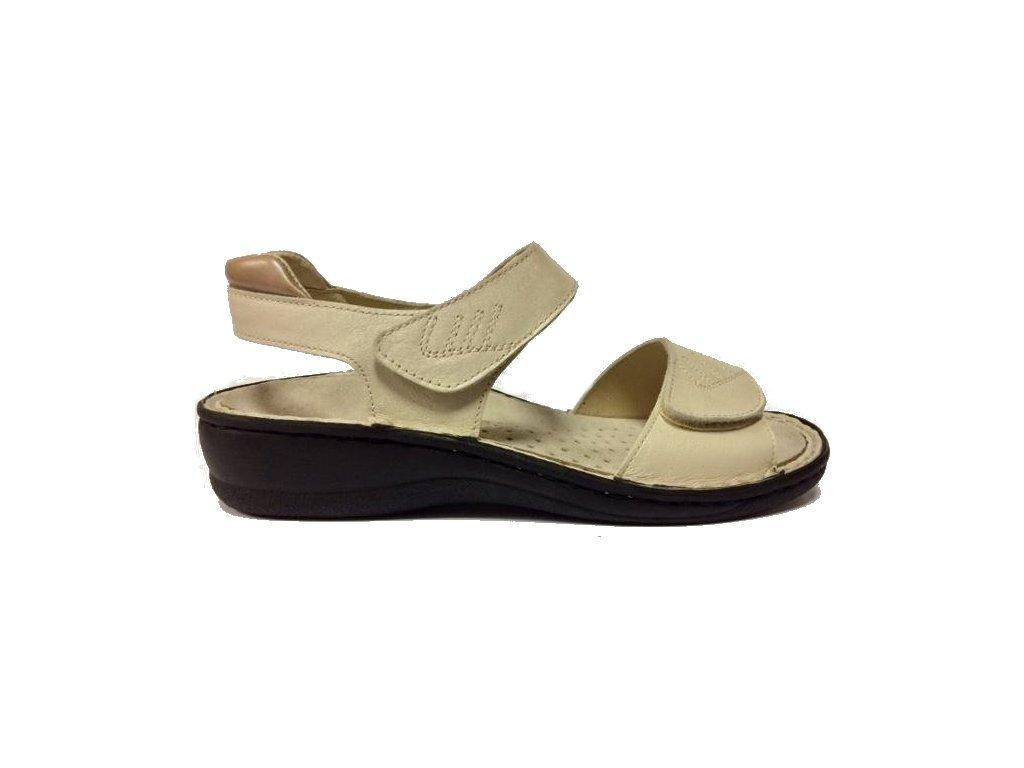 8530 Muf dámské kožené sandály šíře H béžová