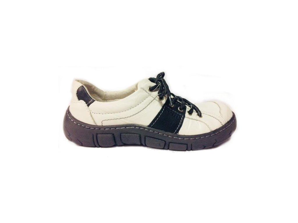 Kacper 2-1198 bílo-černé vycházkové boty kožené