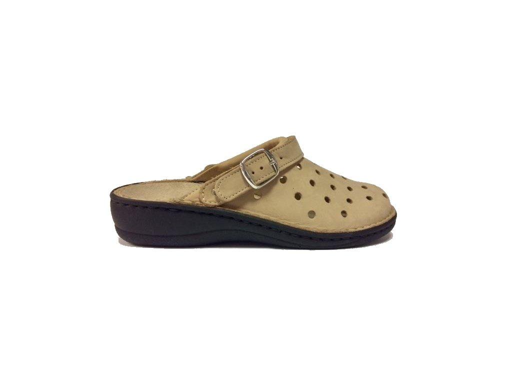 8767 Muf kožené pantofle s vyjímatelnou stélkou béžová