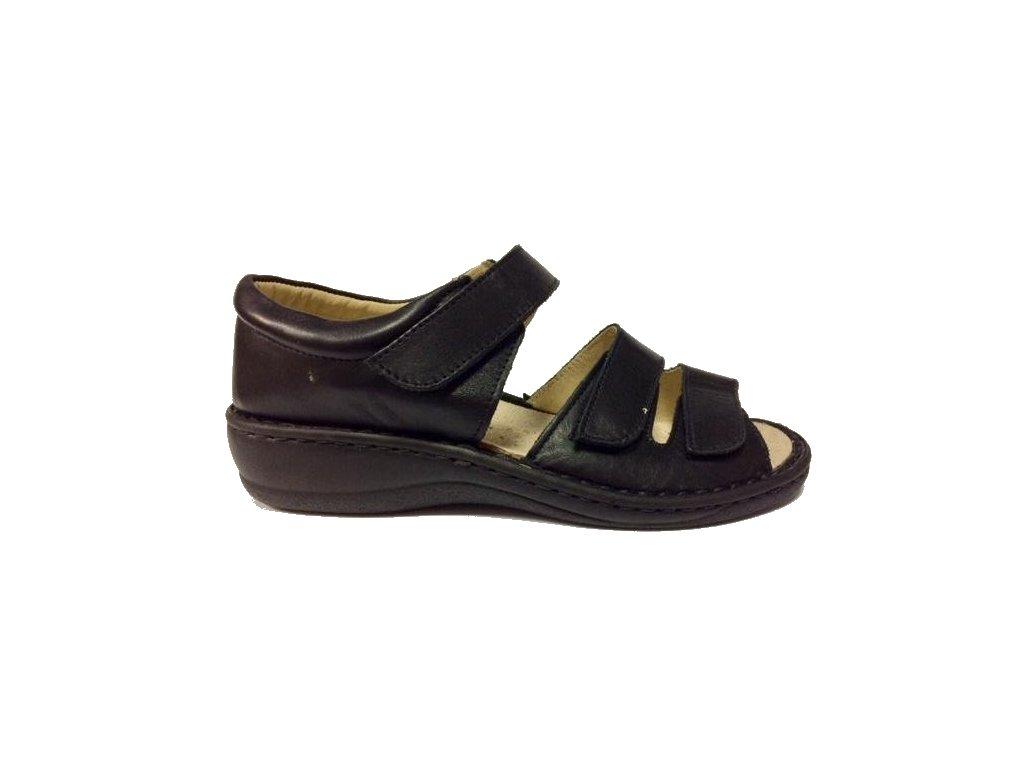 8063 Muf dámské kožené sandály šíře H černá
