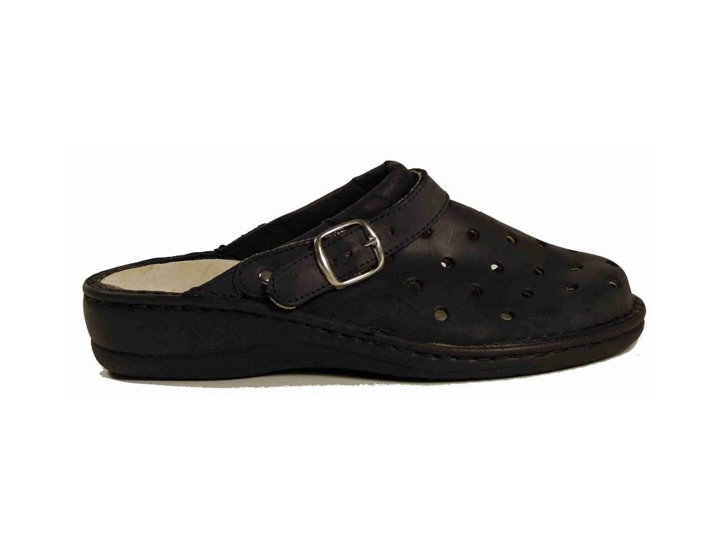 8767 Muf kožené pantofle s vyjímatelnou stélkou černá