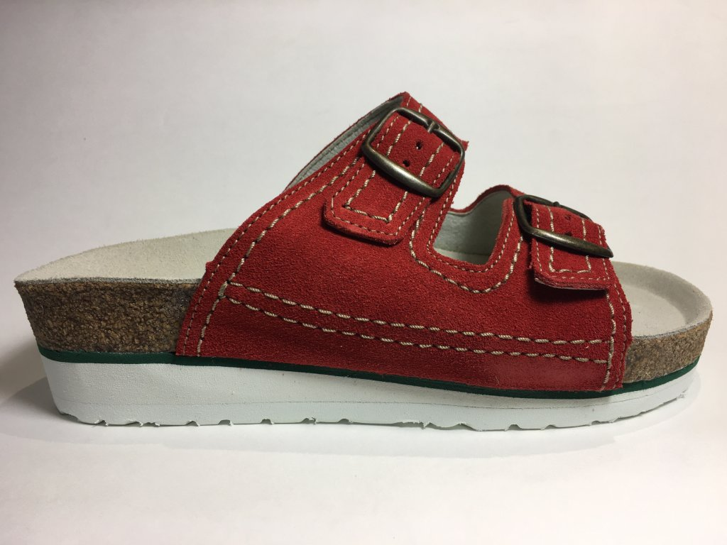 T-513S korkové zdravotní pantofle, červená, klín,B4U