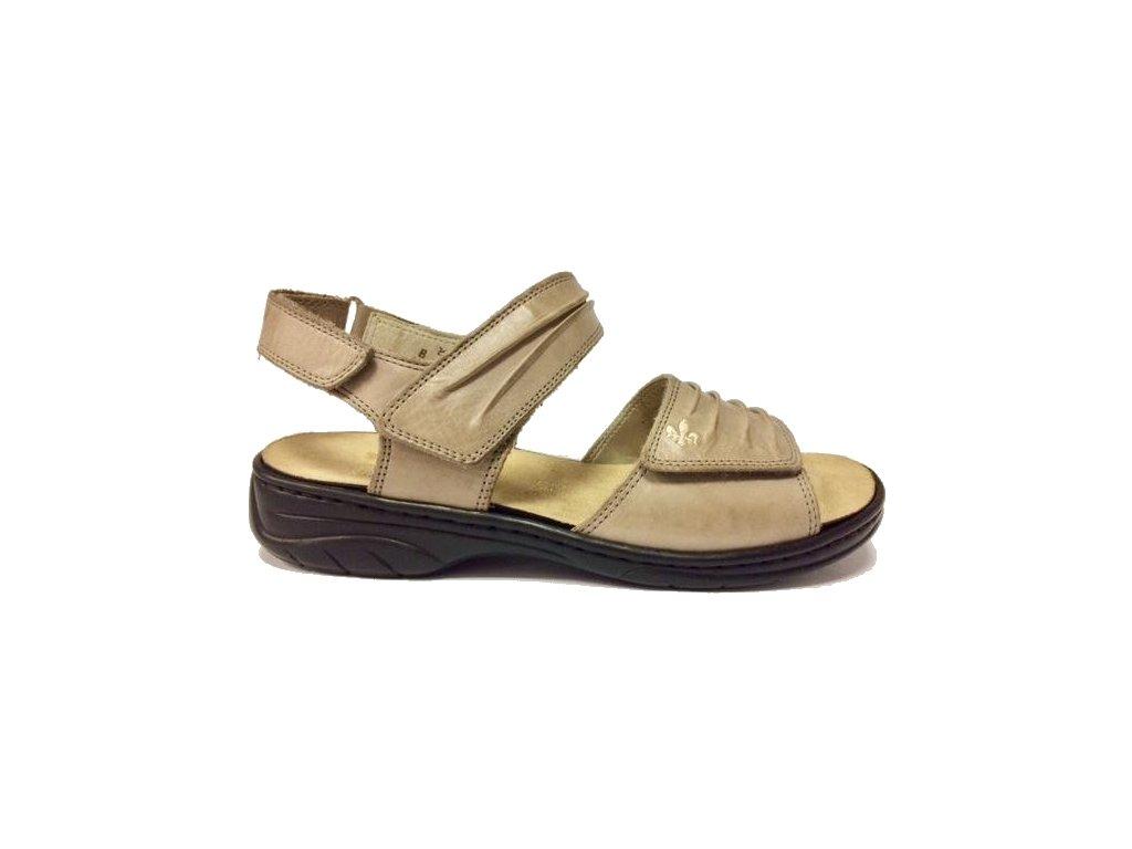 Rieker 64560-42, béžovo šedé sandále s vyjímatelnou stélkou