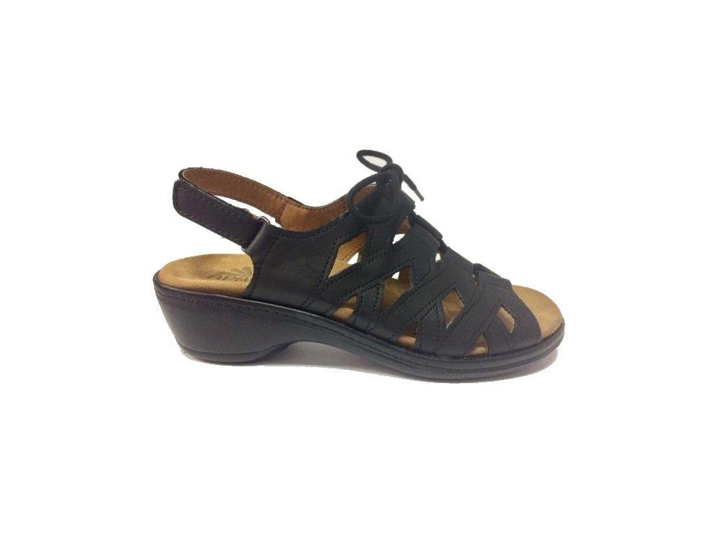 HEIKE, sandál dámský, černá, zdravotní,šněrovací na halux