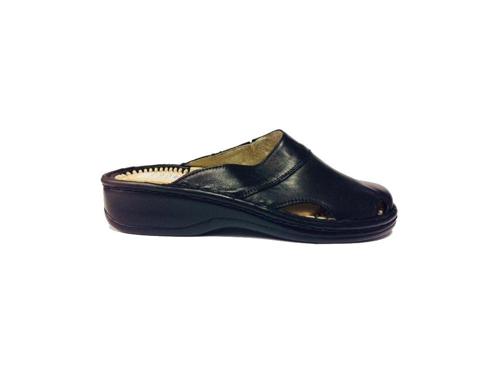 Hujo F-01 černé kožené zdravotní pantofle