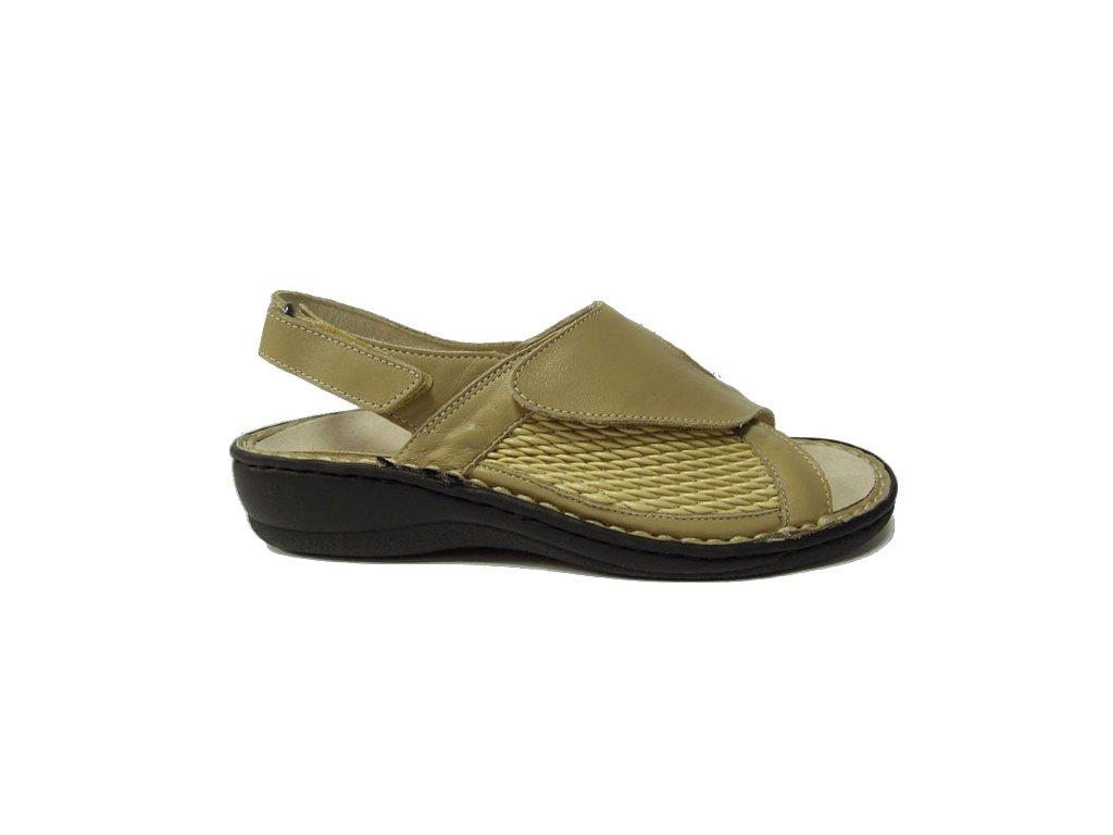 PK-REGA 038-8935 C V béžová, zdravotní sandál vhodný na halux