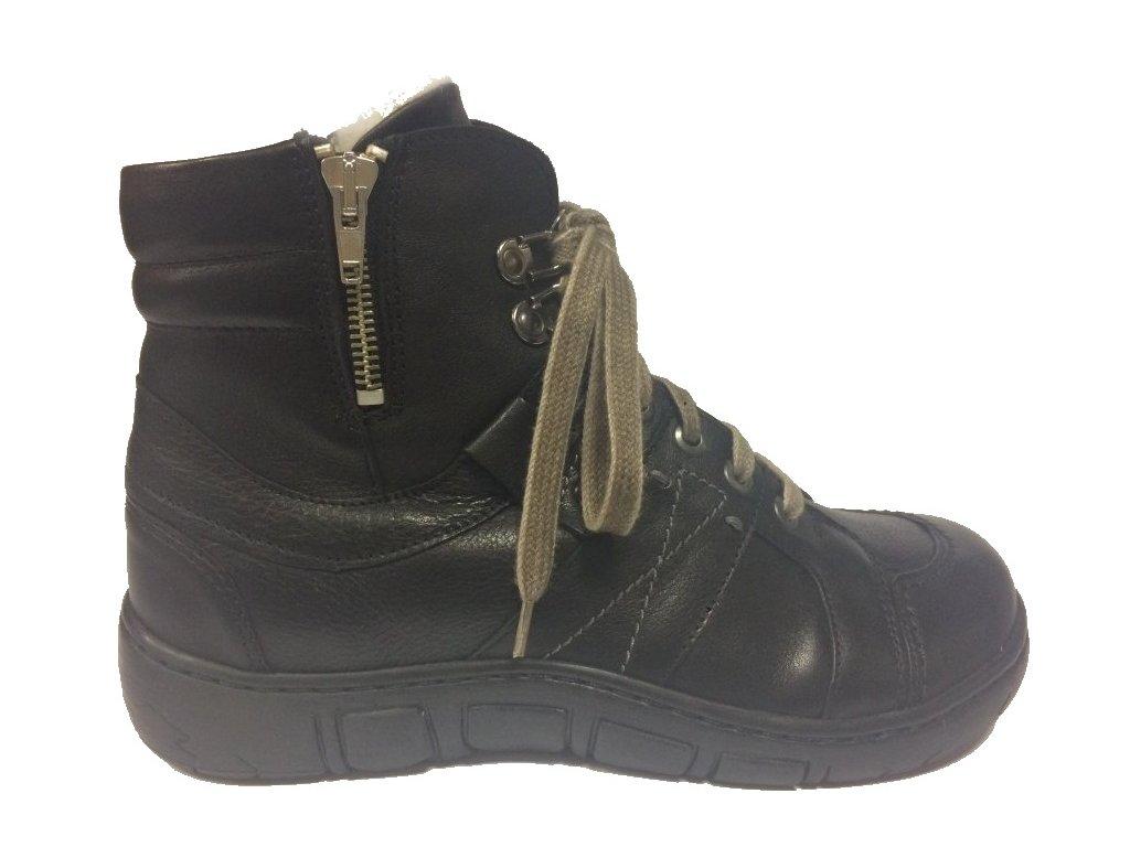 Kacper 4-1191, dámská zimní obuv, kožich, černá