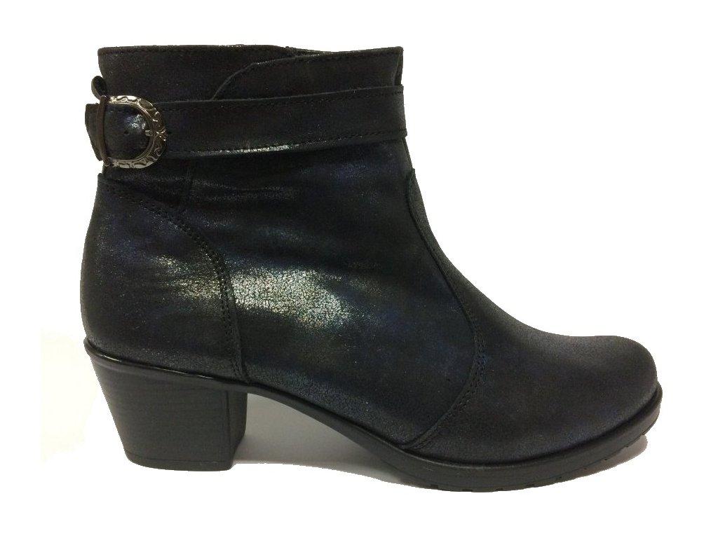 Hujo EW 474 modré kotníkové zimní boty na podpatku