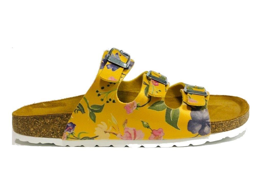 Bio Life Laura žlutá - korkové třípáskové pantofle 286
