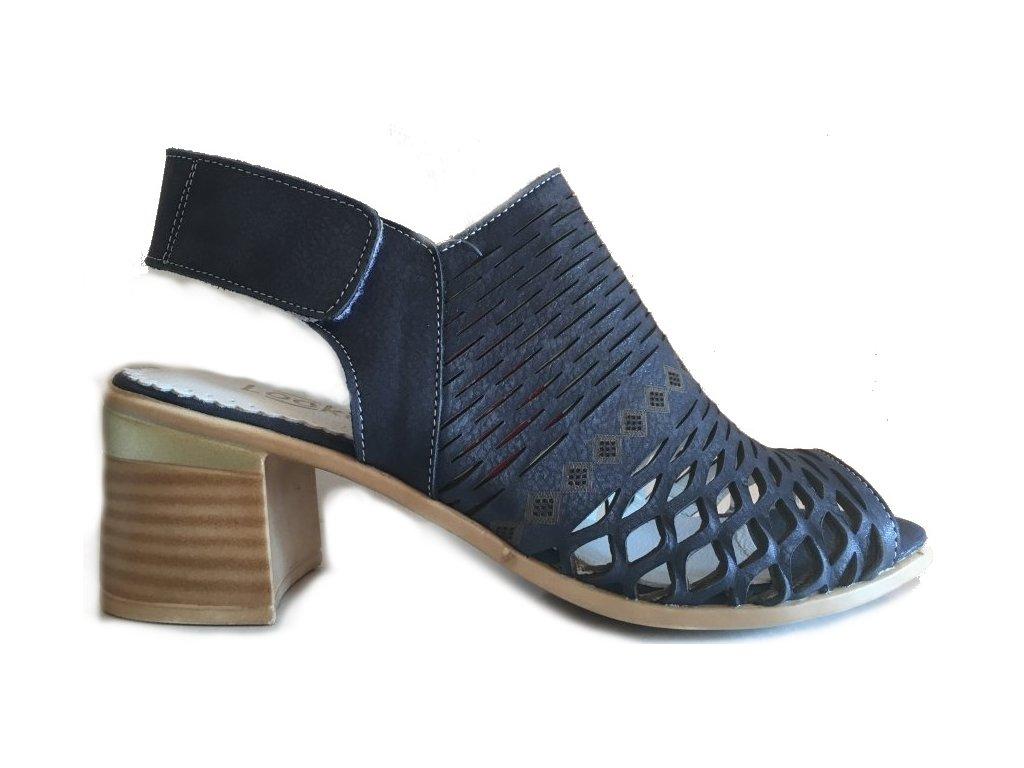 Looke, Suzette, modré dámské sandály na podpatku