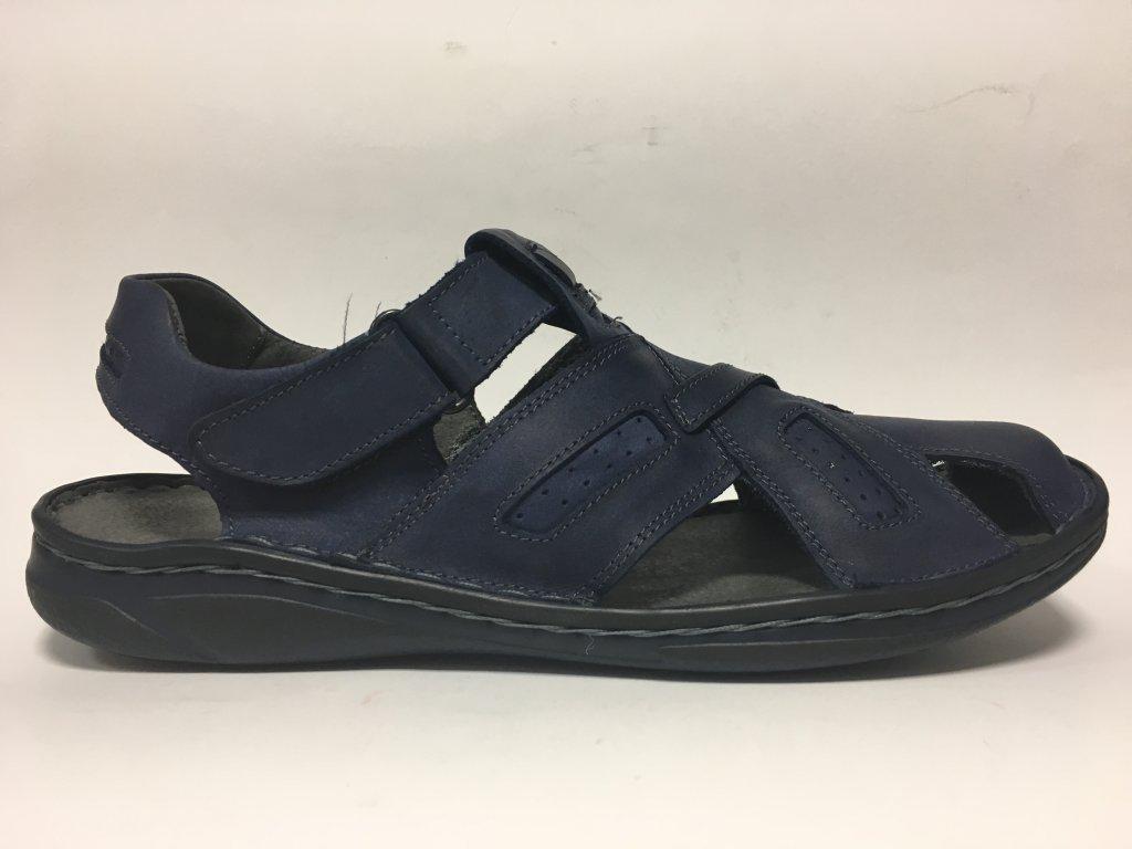 456f35e6b5011 Pánské kožené sandály modré - Hujo - EF 195 - Pohodlná Obuv