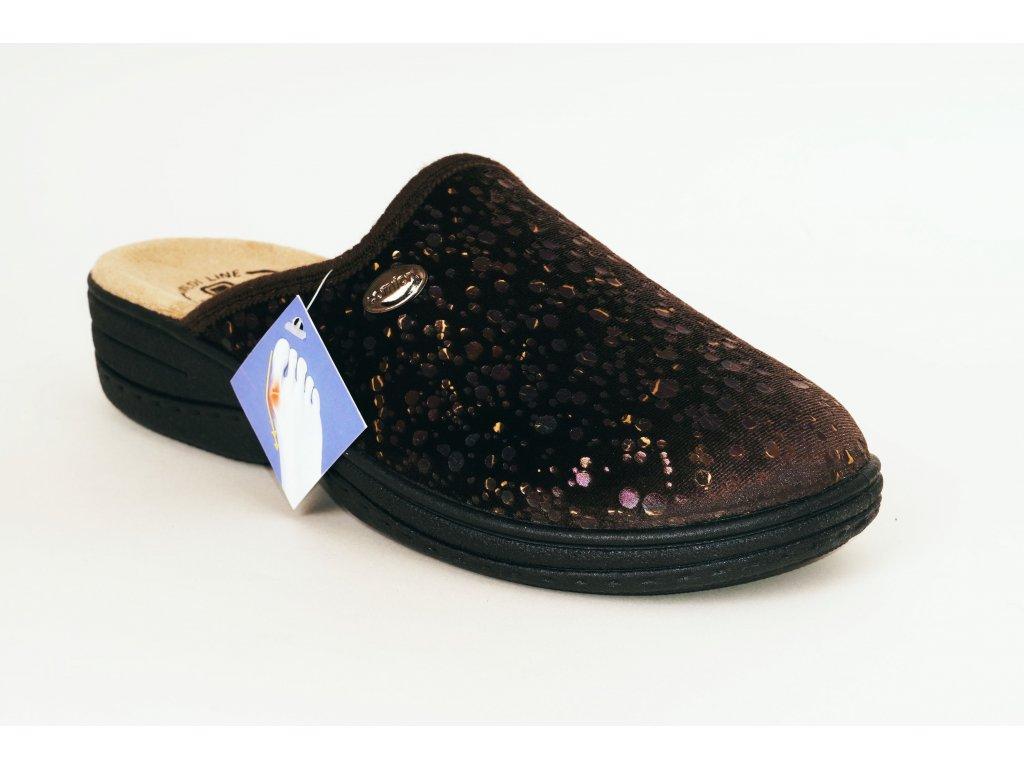 Medi Line 514 hnědé domácí pantofle vhodné na halux