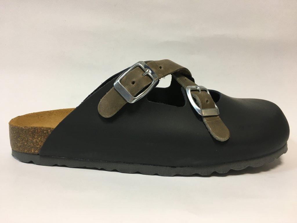 Bio Life 128.383 Lola kožené černé zdravotní pantofle na korku