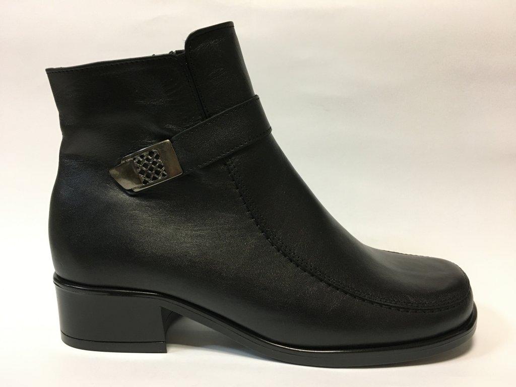 Gruna 2406 z61 černé zimní boty na podpatku