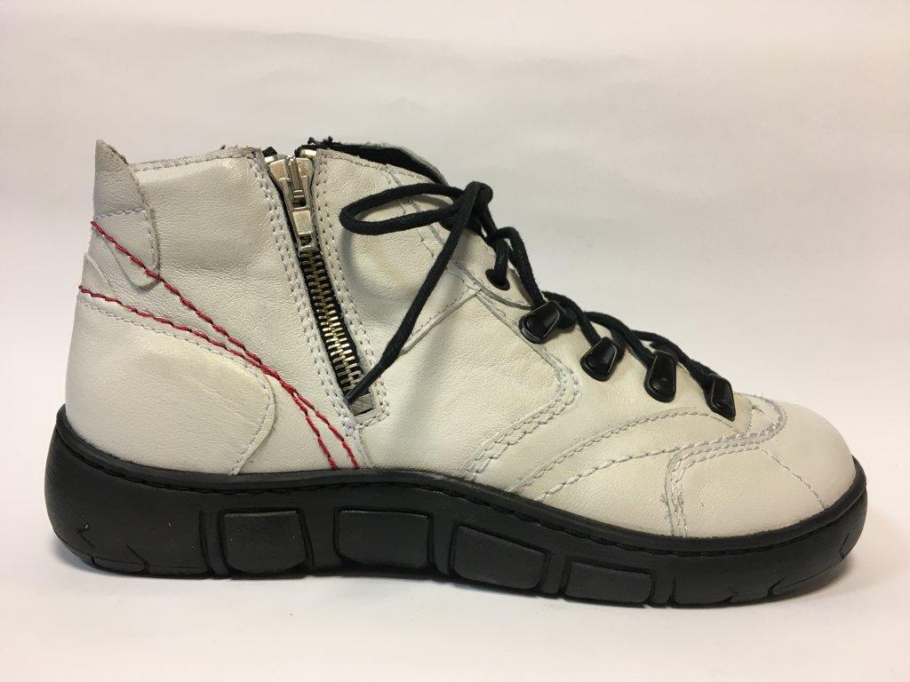 Kacper 4-0109, dámská zimní kožená obuv, bílá