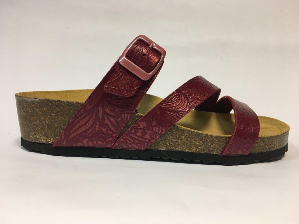 Bio Life Greta 1533.66, bordo pantofle na klínu, korek