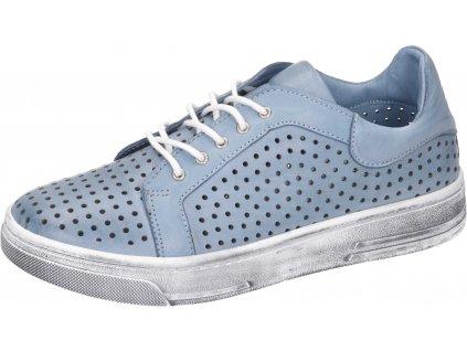 Manitu 8502-51 kožené tenisky s perforací modrá