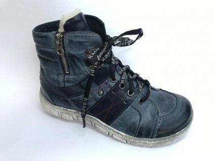 Kacper 4-1191 dámská kožená zimní obuv modrá navy šíře H