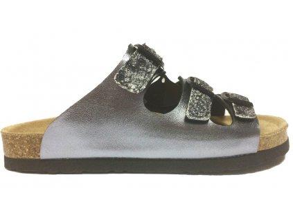 Dr. Brinkmann 700992  korkové pantofle stříbrné