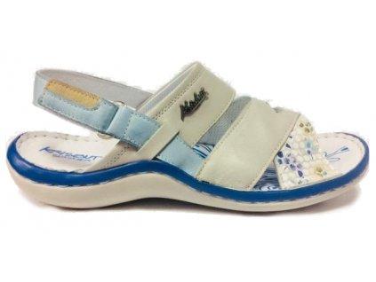 Krisbut 7001-3-1 modro-bílé kožené sandále
