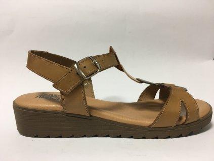 Apache 251364, pohodlné hnědé kožené sandály