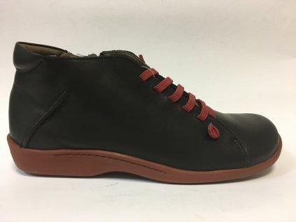 Flex and Go, BT0201 černé kotníkové boty bordo tkaničky