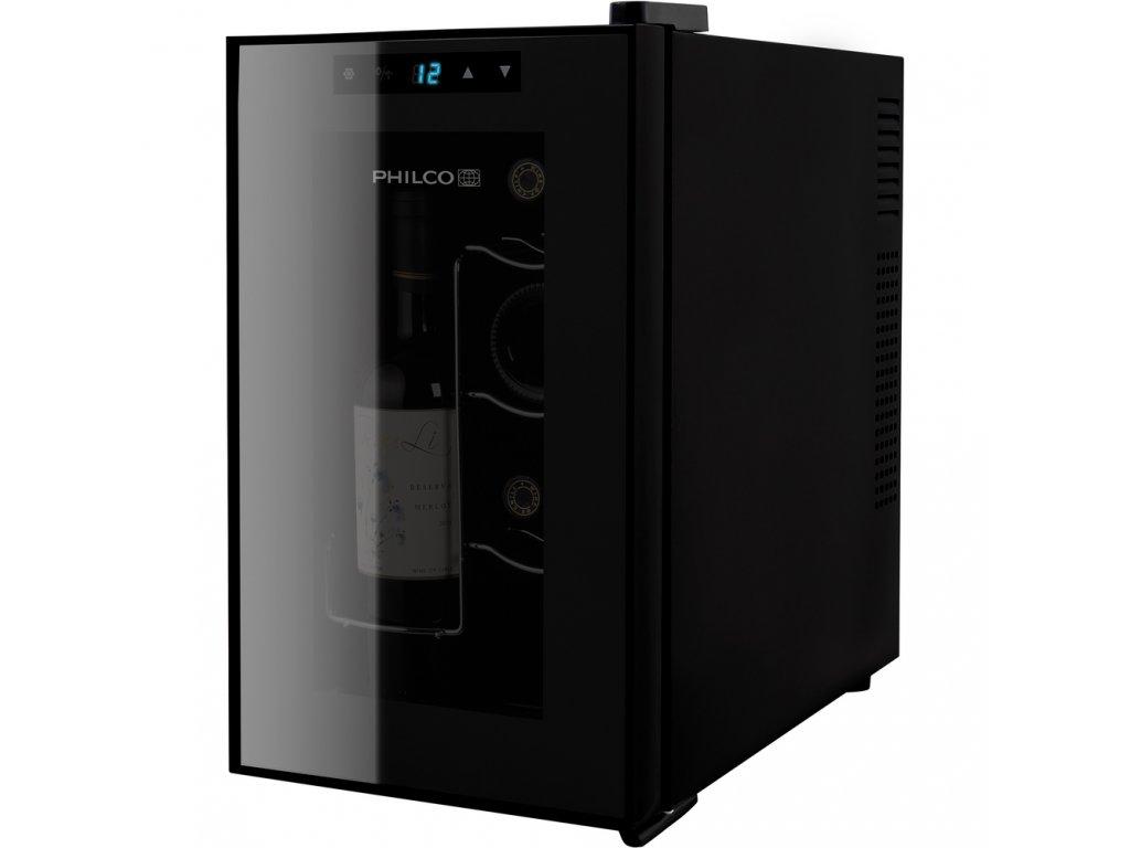 PHILCO PW 8 F vínotéka čierna 8 fliaš  + Bezplatný servis 36 mesiacov navyše