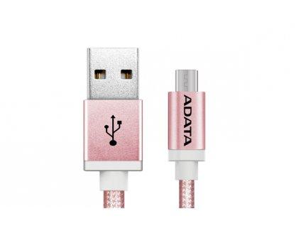ADATA Micro USB kabel pletený 1m růžový