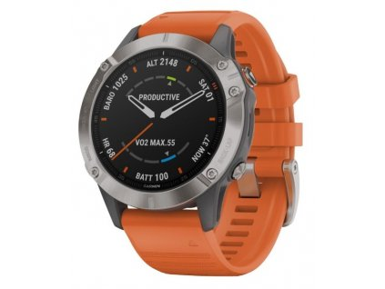 GARMIN fenix6 PRO Sapphire, Titanium/Orange Band (MAP/Music)