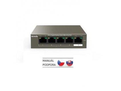 Tenda TEG1105P-4-63W - PoE AT Switch 63Watt, 5xRJ45 GLAN, Switch s 4xPoE 802.3at, 10/100/1000 Mbps