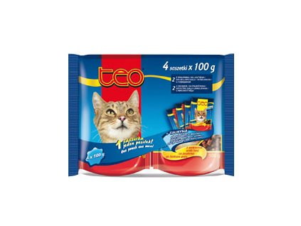 TEO kapsička kočka pack4x100g 2drůb,2hov