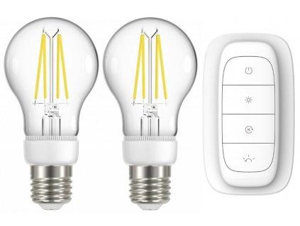 IMMAX NEO 2x SMART LED filament E27 6,3W, teplá bílá, stmívatelná, Zigbee 3.0 + ovladač