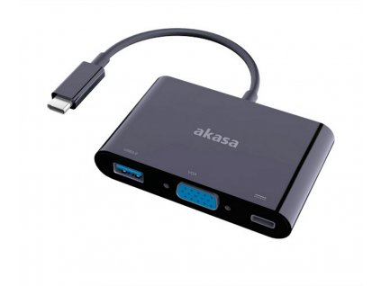 AKASA adaptér USB typ C na VGA, USB 3.0 typ-A a USB typ-C / AK-CBCA02-15BK / 15cm