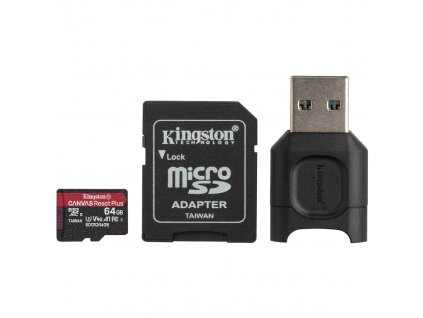 KINGSTON microSDHC Canvas React Plus 64GB UHS-II + Adapter + čítačka